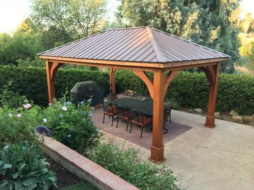 12x18 Roof Span Pavilion Traditional Roof Design Western Red Cedar 8x8 Columns Grand Cedar Style Corner Braces Backyard Pavilion Gazebo Pergola Patio