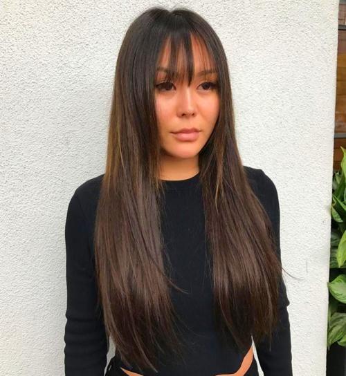Bangstyle Hair Medium In 2020 Long Hair Styles Hair Styles Long Hair With Bangs