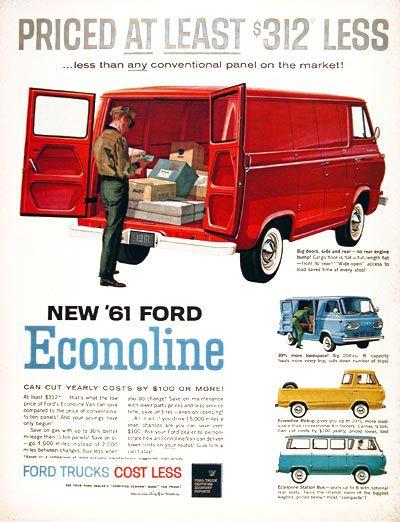 Vintage Ford Econoline van ad.