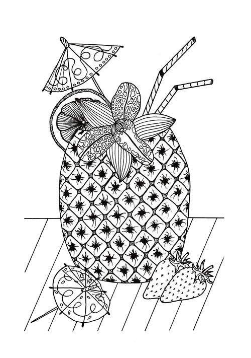 Tropical Island Cocktail Coloring Page Summer Coloring Pages