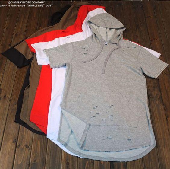 2015 kanye west hip hop clothing hole hooded t shirt brand. Black Bedroom Furniture Sets. Home Design Ideas