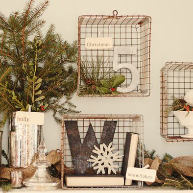 Wire Baskets as shelves - styled for Christmas