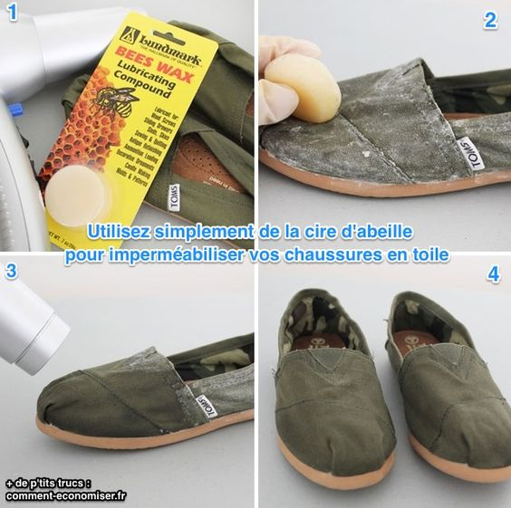 Il vous suffit de prendre ou d'acheter de la cire d'abeille, tout bêtement, et de la frotter sur vos chaussures.  Découvrez l'astuce ici : http://www.comment-economiser.fr/solution-impermeabiliser-chaussures-toile.html?utm_content=buffer38cae&utm_medium=social&utm_source=pinterest.com&utm_campaign=buffer