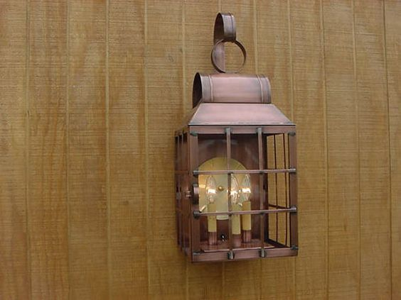 Old vintage early american antique rustic colonial - Early american exterior lighting ...