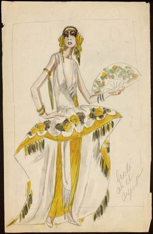* Modèle de déguisement 1922 croquis Muguette Buhler pour Paul Poiret