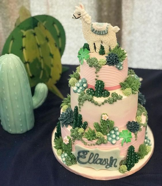 Cute cactus cake for a fiesta first birthday.