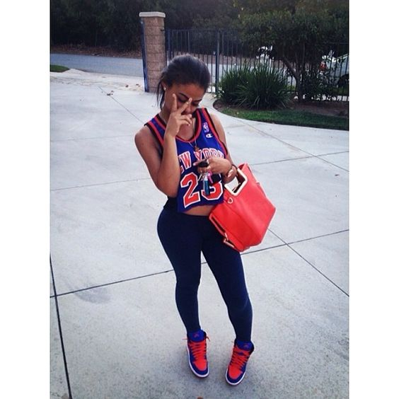cute outfit girls with swag air jordan 1 outfit new york knicks blue orange blakc hair