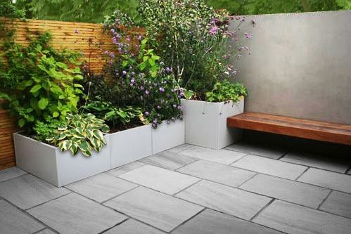 planter ideas   also like the gray geometry