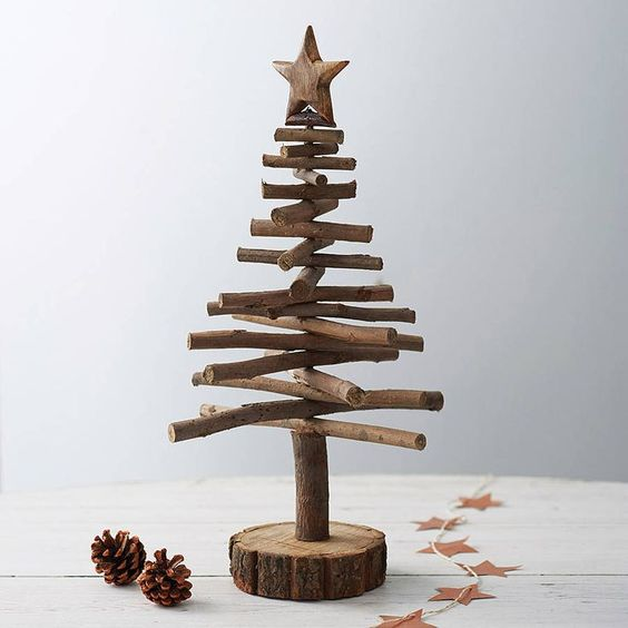 Twig christmas trees are a rustic alternative is creative for Twig decorations home