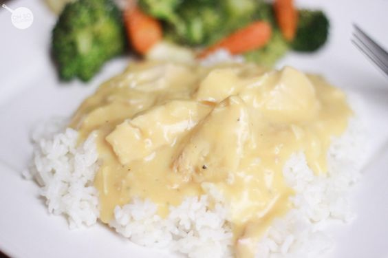 Slow Cooker Chicken & Gravy over rice