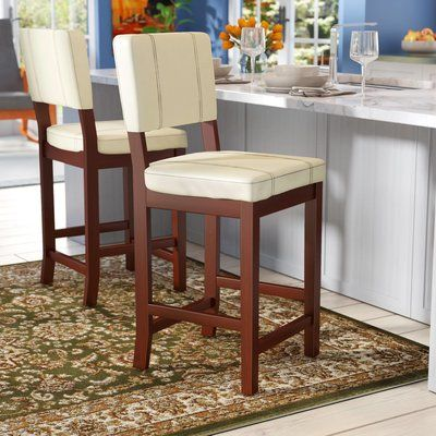 Millwood Pines Lechner Bar Counter Stool Color Cream Seat