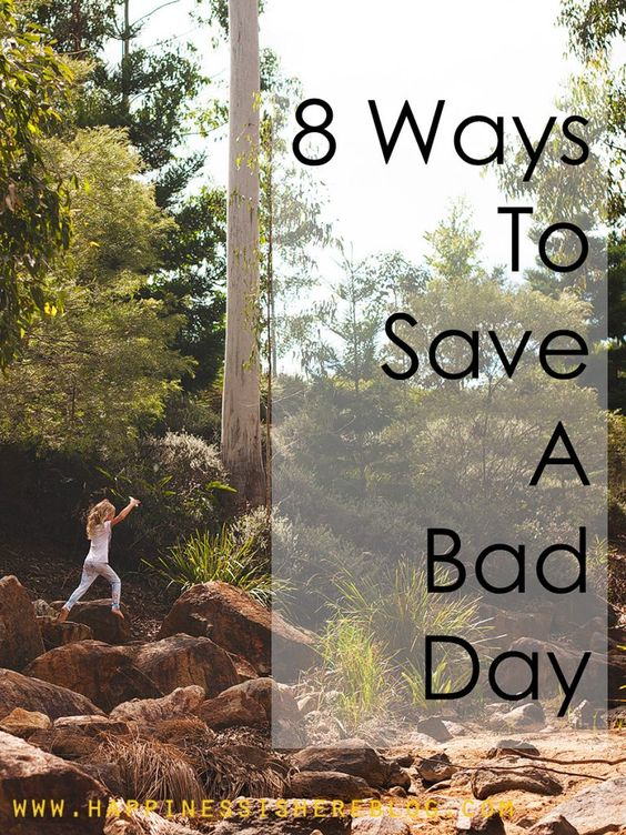 8 Ways To Save A Bad Day:Whether I am grumpy, frustrated, happy, silly, angry, anxious, or patient, the mood is contagious. We all feed off each other's emotions. So, I can choose to keep the day going along the same path (no thanks), or I can do something to change it! Here's what works for us when things are getting a little crazy… *Great read for parents