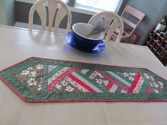 Quilted pieced Christmas  Table Runner by KaTerryTheSewSisters