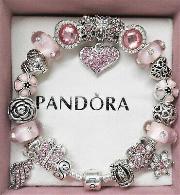 Authentic Pandora Silver Charm Bracelet With Pink Love European Charms Ebay In 2021 Pandora Bracelet Charms Pandora Bracelet Designs Pandora Jewelry Charms