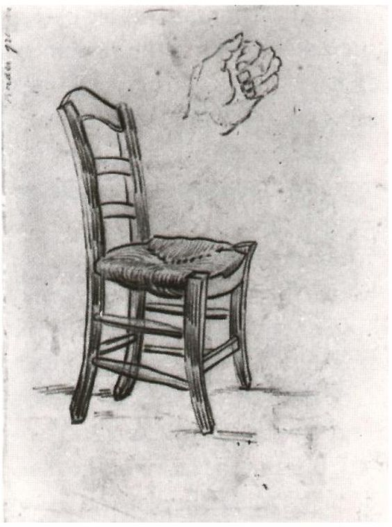 Vincent van Gogh Silla y bosquejo de una mano Drawing
