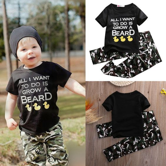Baby Infant Clothes Army Green 2 Piece  Boys Outfit T-shirt Tops+ Pants Black Cute Duck. Material:Cotton, PolyesterGender:BoysClosure Type:PulloverOuterwear Type:Short SleevePattern Type:LetterSleeve Style:RegularCollar:O-Neck Free Shipping