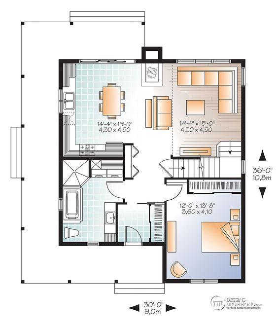 Détail du plan de Maison unifamiliale W3518-V1 Projet maison - idee de plan de maison