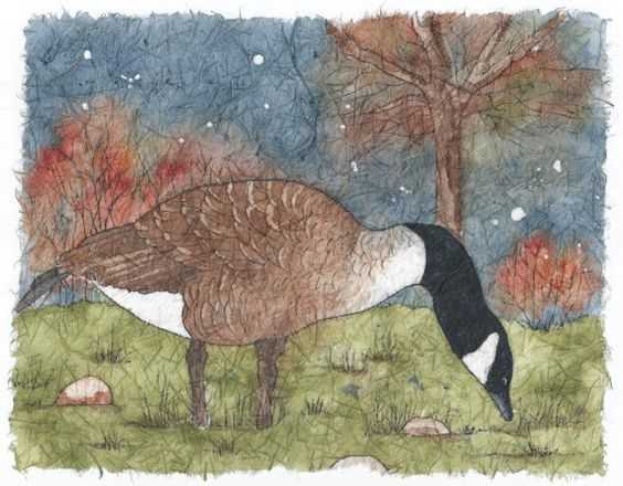 Goose in the Meadow   Watercolor Batik on Rice by NatureArtbylynn, $45.00
