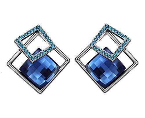 Neoglory Jewelry Platinum Plated 3 Square Shaped Blue Gla...