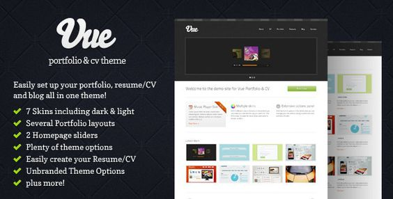 Vue - Portfolio \ CV WordPress Theme Wordpress, Wordpress theme - how to build up your resume