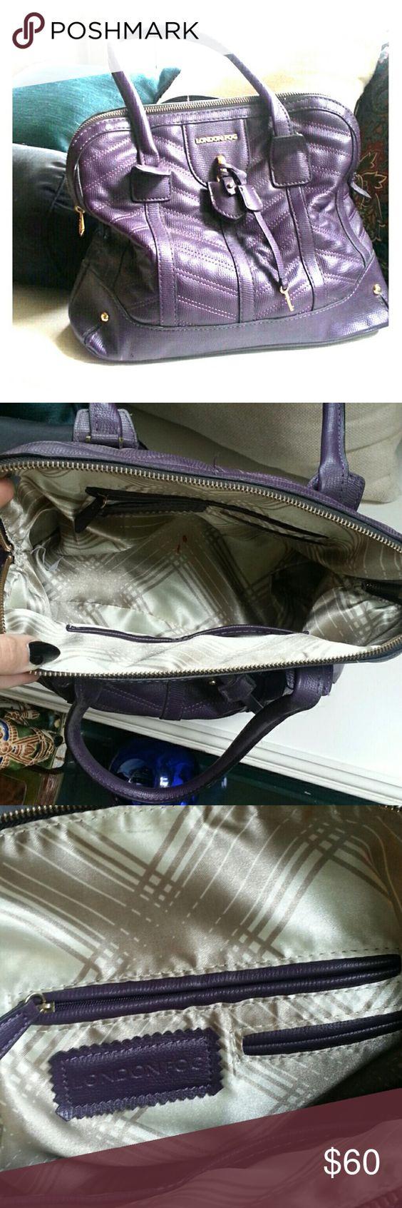 London Fog Purse Eggplant purple leather, large purse, with gold hardware London Fog Bags Totes