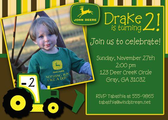 John Deere Party Invitation Bentleys Nd Birthday Pinterest - John deere 2nd birthday party invitations