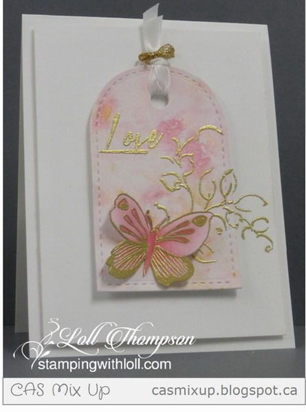 Stamps: Wild Hibiscus, Golden Garden (Altenew) Paper: White card stock (Neenah 110 lb.) Ink: Versamark; Zig marker in dark pink Accessories & Tools:  Rose and Gold Inka Gold (Viva Decor), water mister, Stitched tag die (Lil' Inkers), gold embossing powder, heat tool, white ribbon, gold cording