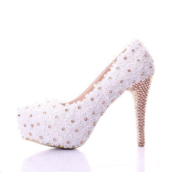 Encaje negro zapatos de boda ultra plataforma tacones altos zapatos de vestir formales de color champán rhinestone de la boca baja zapatos de novia en Bombas de las mujeres de Calzado en AliExpress.com   Alibaba Group