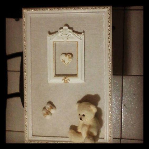 Quadro G Coração, Ursinho e Mini Sapatinho