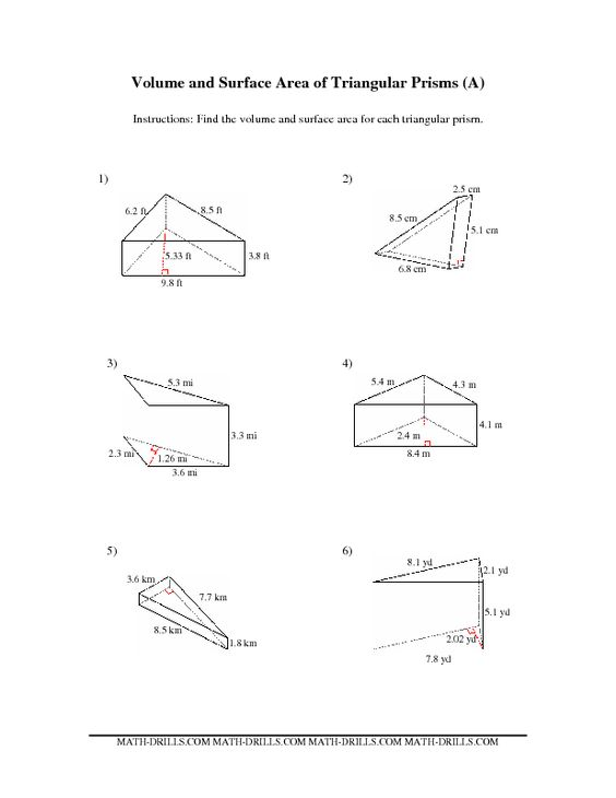 Worksheets Triangular Prism Surface Area Worksheet surface area on pinterest the volume and of triangular prisms a math worksheet from measurement page at