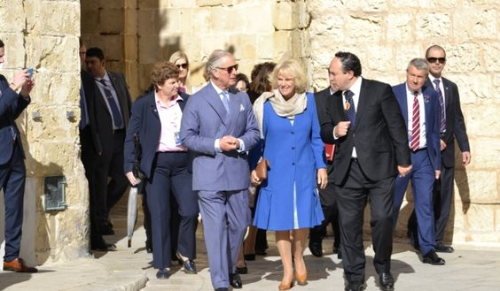 Prince Charles and Duchess Camilla greeted by enthusiastic crowds at Mdina ahead of their departure