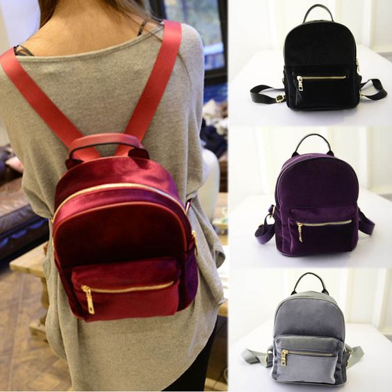New Teenager Girl's Bag Fashion Women Velvet Backpacks Pleuche Casual Style…: