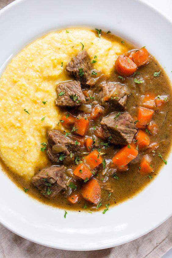 Beef Stew with Cheesy Polenta