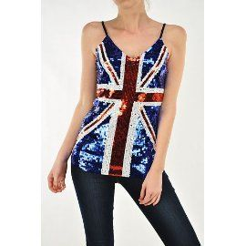 Union Jack British Sequin Flag Fashion Tank Top Womens $25 www ...