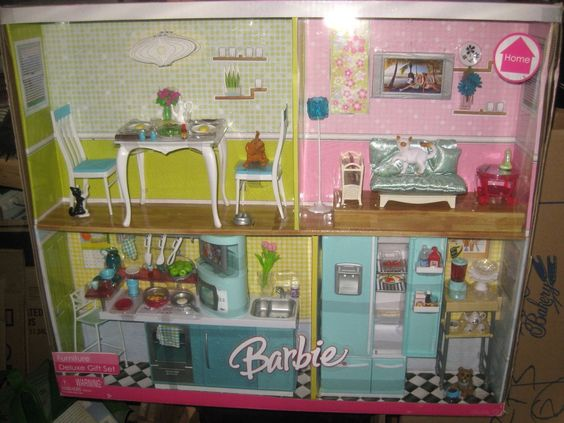 Barbie Mattel Home Furniture Deluxe Gift Set Kitchen Living Room Sealed Barbie Home And