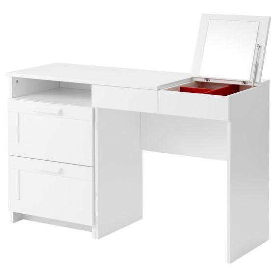 IKEA - BRIMNES, Frisiertisch + Kommode mit 2 Schubl, , Mit eingebautem Spiegel und verdeckter Aufbewahrung zum perfekten Organisieren von Schmuck und Kosmetik.Leichtgängige Schubladen mit Ausziehsperre.