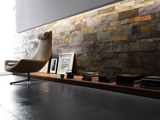 Verblendsteine Maxi Murales in Gold und Grau von Artesia - schiefer wandverkleidung wohnzimmer