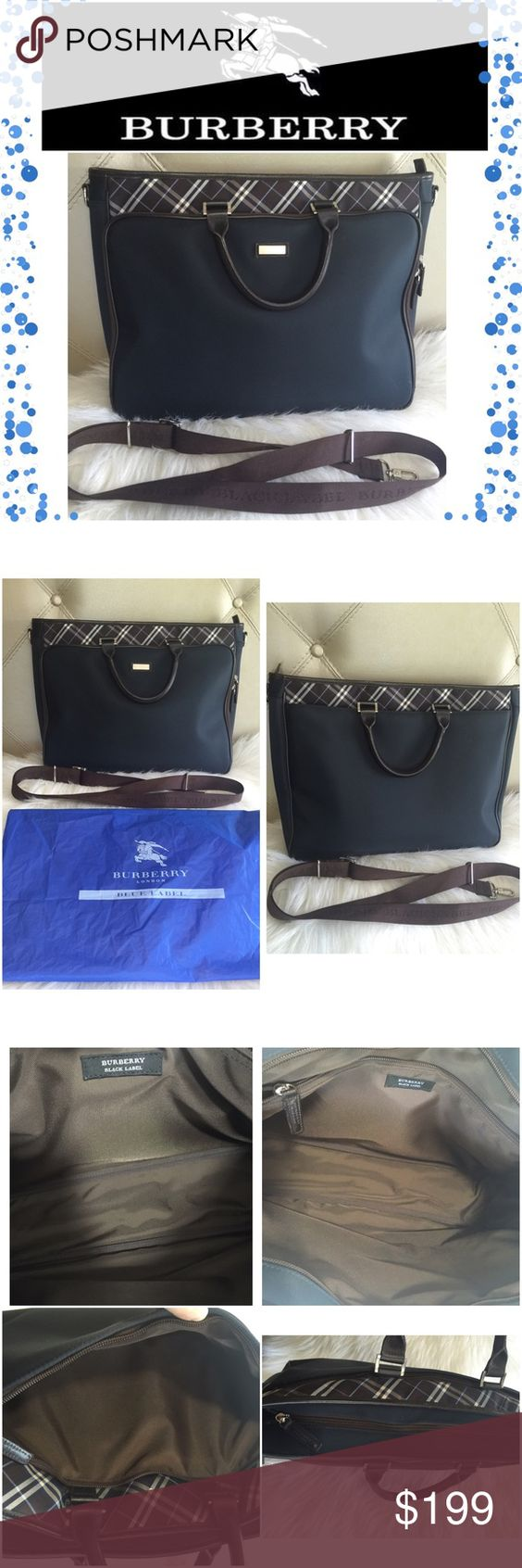 Authentic Burberry Business bag Great preowned condition. Burberry Black Label Messenger/Business bag.  The bag features a navy blue nylon body with signature Burberry check embellishments.  Leather corners/handles & piping are constructed of dark brown leather. Adjustable, removable strap features silver hardware and nylon webbing.  Front compartment has organizational pockets for pens, mobile phone etc. Main compartment features a zipped patch pocket. Back compartment is zippered as well…