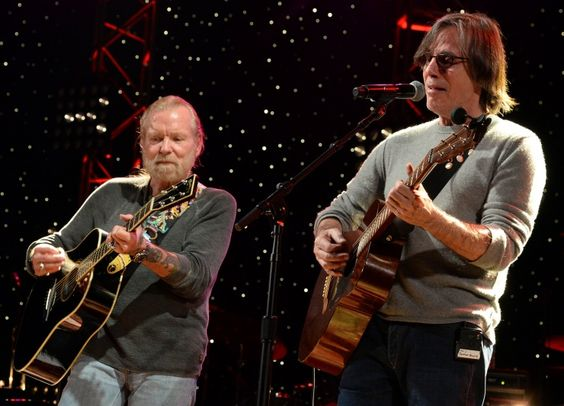 Two legends, one stage. The Allman Brothers Band's Gregg Allman and Jackson Browne trade licks during rehearsals for All My Friends: Celebrating The Songs & Voice Of Gregg Allman on Jan. 9 in Atlanta