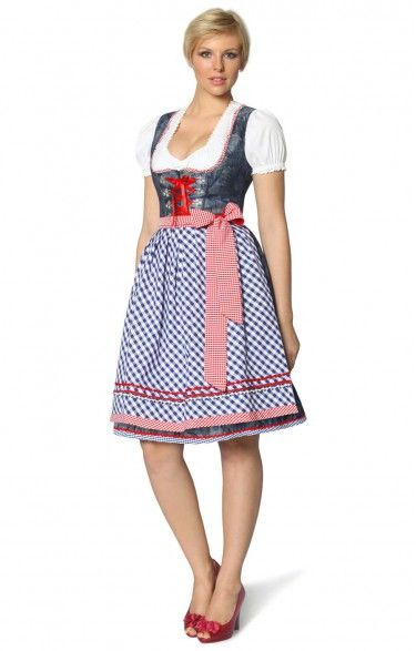 Midi Dirndl 2tlg. Jazz blueprint 60 cm
