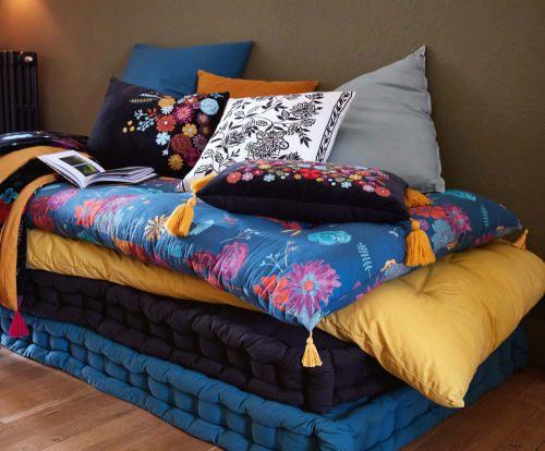 Boutis Reversible En Coton Jaune Moutarde Et Noir Motif Floral 100x200 Maison Du Monde Soldes Maison Du Monde Matelas