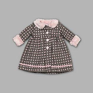 -Infant & Toddler Girl's Coat Dress Dot Gray Pink