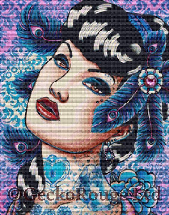 Modern Cross Stitch Kit By Carissa Rose 'Sapphire by GeckoRouge