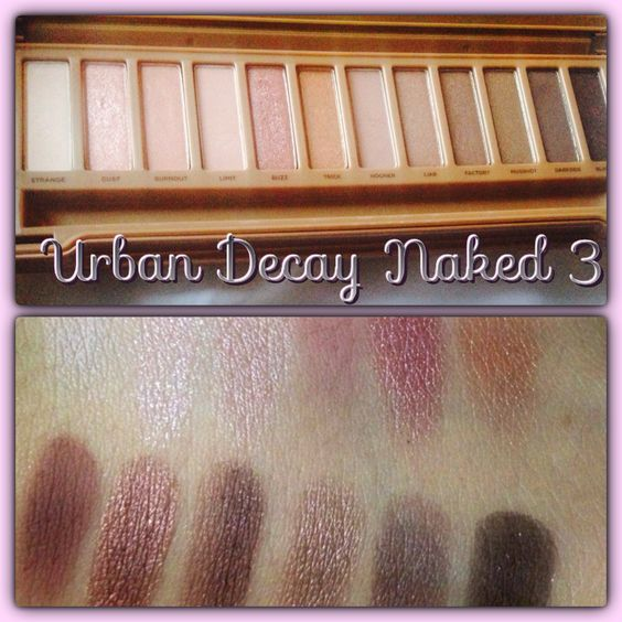 Urban decay Naked 3 pallet. Swatches and more.