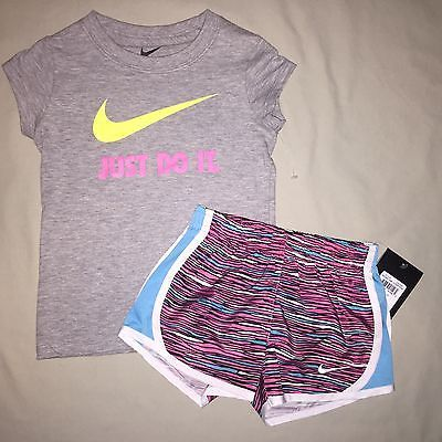GIRLS SIZE 3 3T NIKE PRINT SHORTS JUST DO IT SHIRT OUTFIT LOT OF 2 NWT