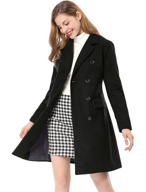 Amazon.com: Allegra K Women Notched Lapel Double Breasted Wool Blended Long Coat: Clothing