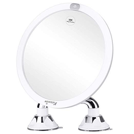 Kedsum 9 Rechargeable 10x Magnifying Lighted Makeup Mirror With Dual Suction Cup Dimmable Vanity Mirror W Makeup Mirror With Lights Mirror With Lights Mirror