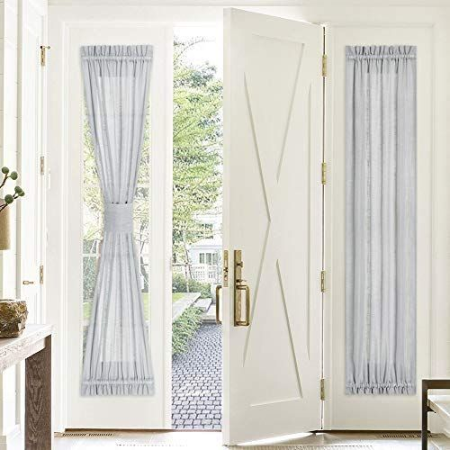 Pony Dance Door Window Curtain 30 X 72 In Light Grey Sidelight Semi Sheer Curtain Light Filter Fren In 2020 Blinds For French Doors French Doors Patio Curtain Lights