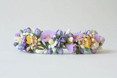 """Diadema con flores y bayas para el pelo """"Mezcla de"""