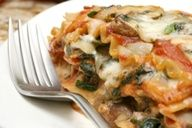 Rip Esselstyns Sweet Potato  Vegetable Lasagna... This lasagna recipe that replaces cheese full of artery clogging fat and beef loaded with dietary cholesterol with antioxidant-rich vegetables the fiber of whole grain noodles. Its less than half the calories of traditional lasagna!